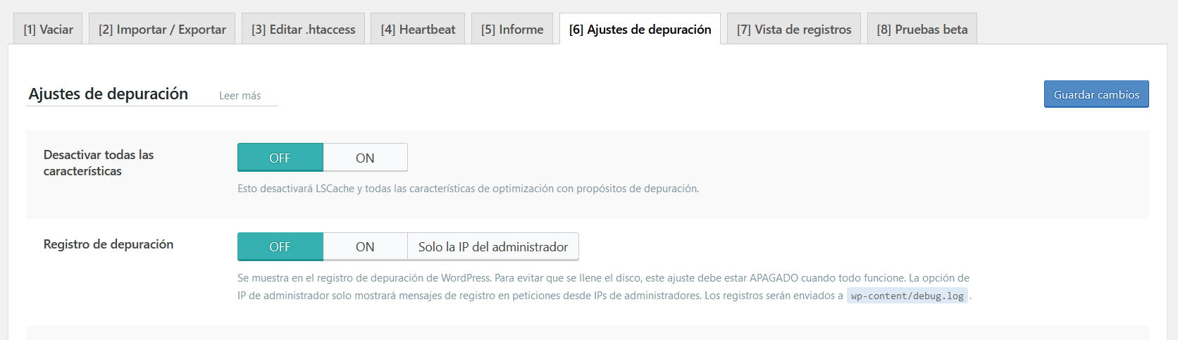 Ajustes de depuración de LiteSpeed Cache for WordPress