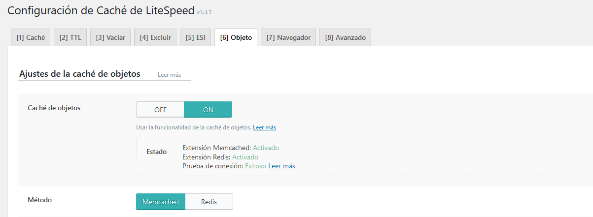 Cache de objetos en el plugin LiteSpeed cache for WordPress