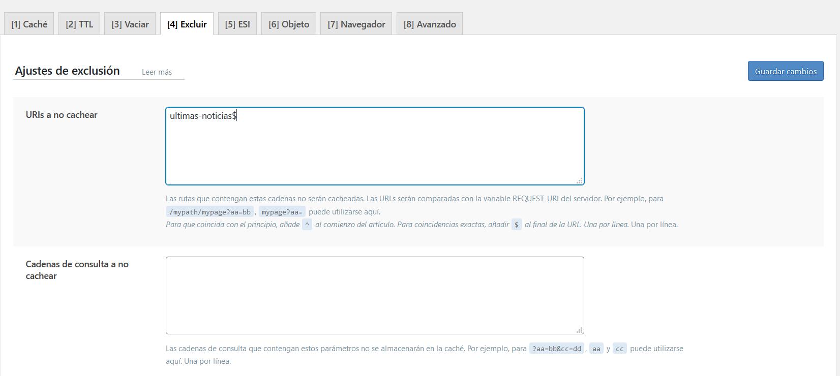 Ajustes de exclusión de contenido en LiteSpeed Cache for WordPress