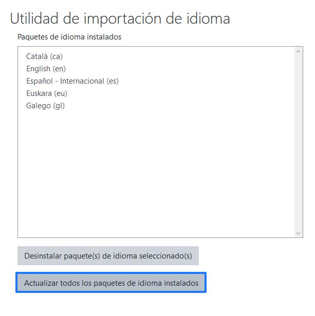 Actualizar los paquetes de idioma en Moodle