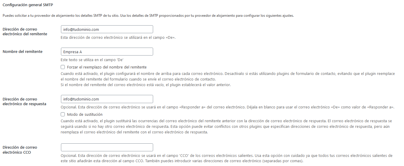 Datos para configurar EasyWP SMTP en WordPress