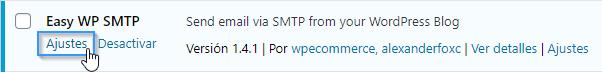 Acceder a los ajustes del plugin Easy WP SMTP en WordPress