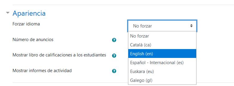 Forzar el idioma de un curso en Moodle