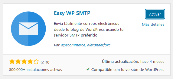 Instalar y activar Easy WP SMTP en WordPress