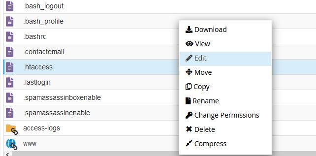 Modificar el .htaccess desde el Administrador de Archivos de cPanel