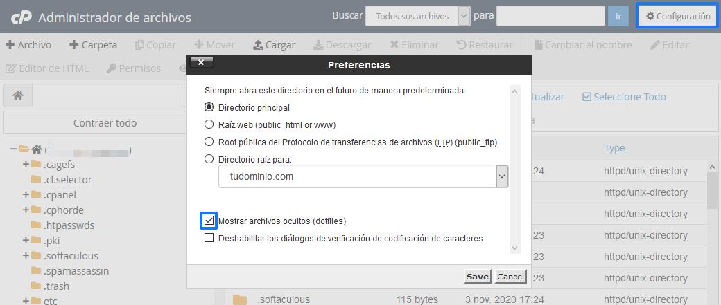Mostrar archivos ocultos en el Administrador de Archivos de cPanel