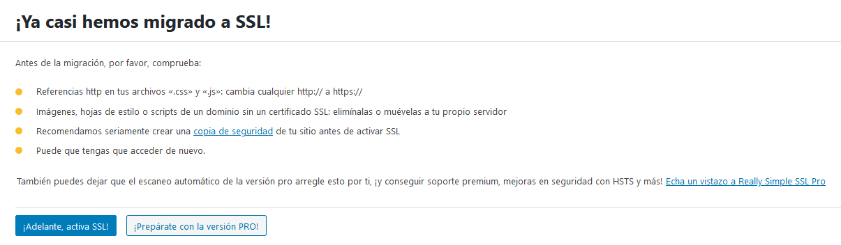 Activar Really Simple SSL en WordPress