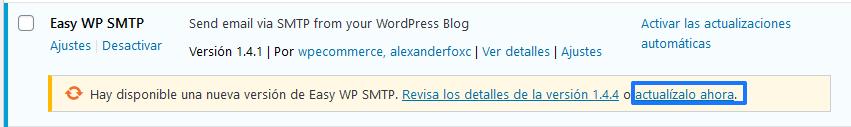 Actualizar plugin Easy SMTP en WordPress