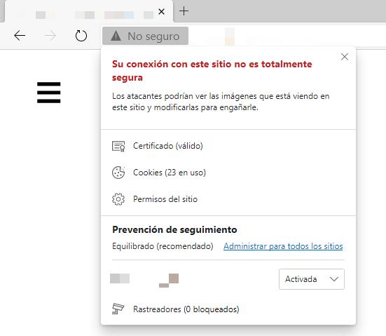 Ejemplo de una web con contenido mixto pasivo en Microsoft Edge
