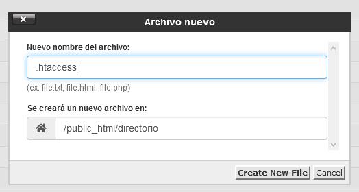 Crear archivo .htaccess