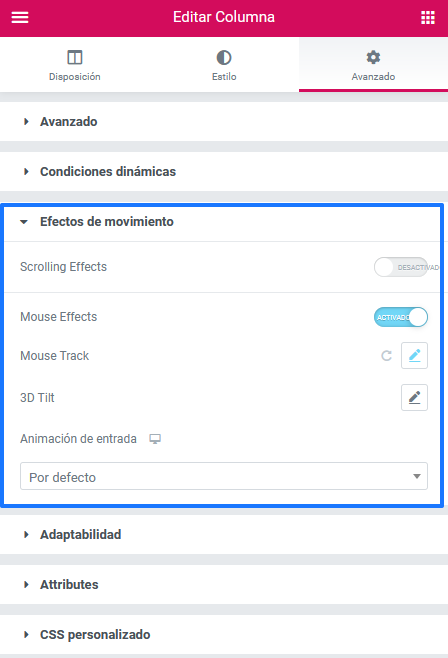 Activar los efectos del ratón con Elementor