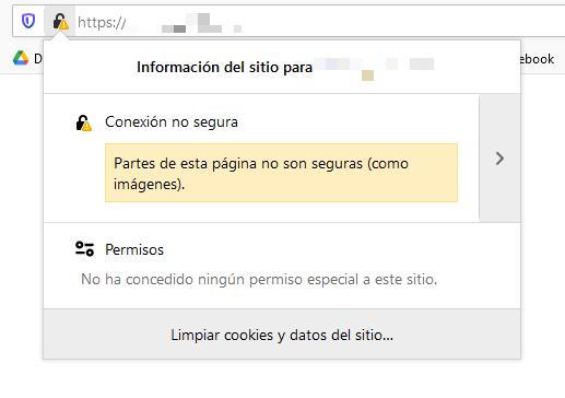 Ejemplo de una página web con contenido mixto en Firefox