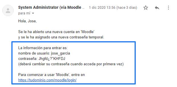 Ejemplo de correo electrónico con la dirección de acceso a Moodle