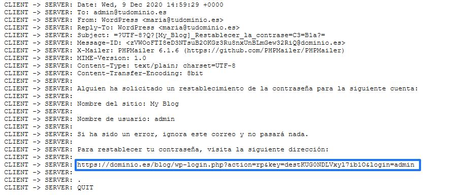 Ejemplo del registro de depuración del plugin Easy SMTP de WordPress