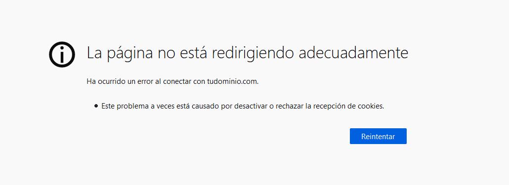 Error ERR_TOO_MANY_REDIRECTS en Firefox