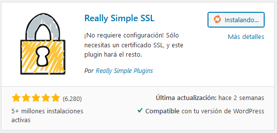 Intalar el plugin Really Simple SSL en WordPress