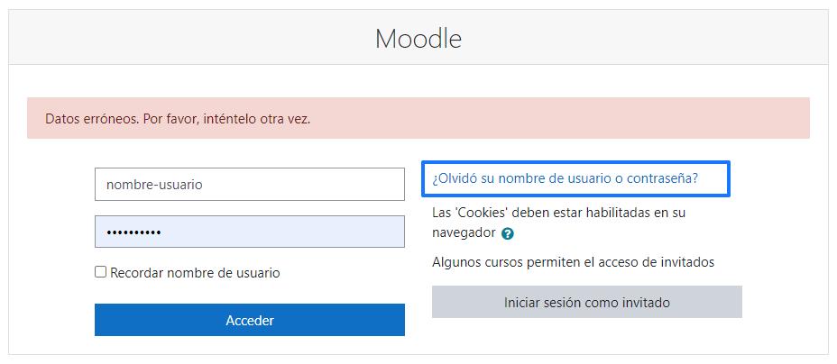 Recuperar la contraseña de Moodle o el nombre de usuario