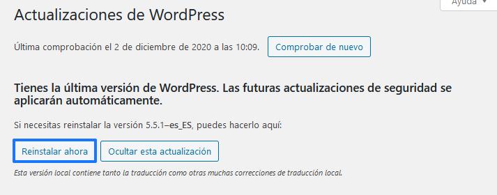 Reinstalar una versión antigua de WordPress