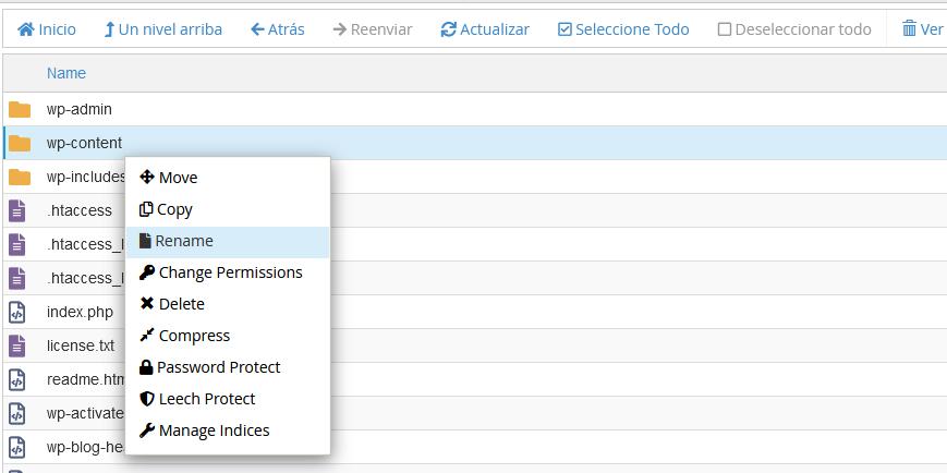 Renombrar la carpera wp-content en el Administrador de archivos de cPanel