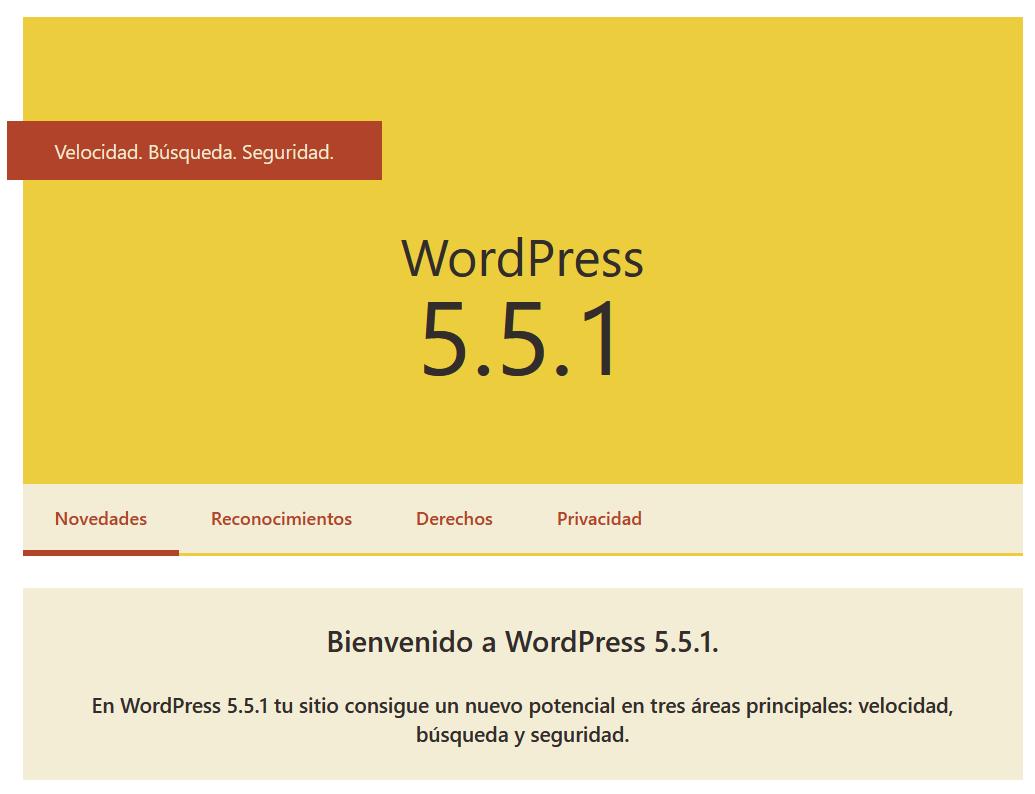 Volver a una versión anterior de WordPress (Ejemplo WordPress 5.5.1)