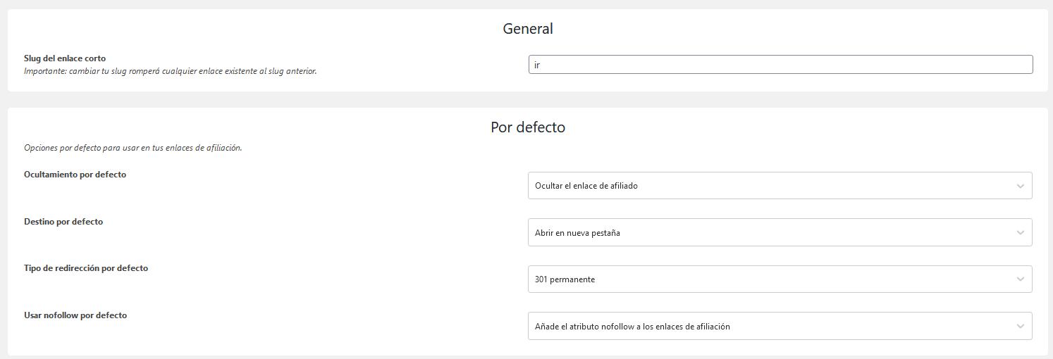 Configuración del plugin Easy Affiliate Links
