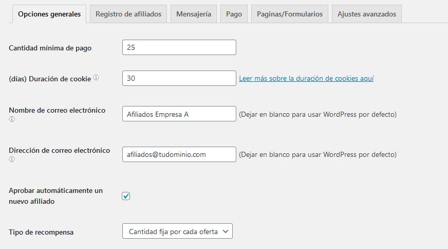 Gestionar comisiones con el plugin Affiliates Manager de WordPress