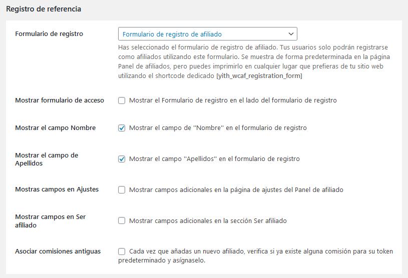 Formulario de registro de afiliados con el plugin YITH WooCommerce Affiliates de WordPress