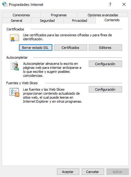 Borrar el estado del SSL desde el panel de control del PC