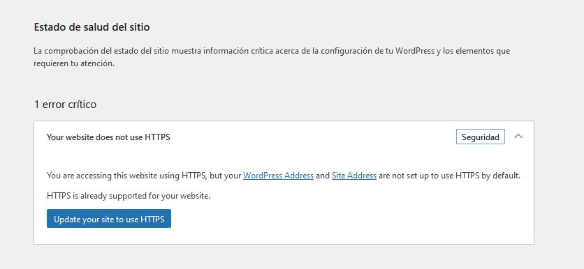 Aviso en WordPress 5.7 para cambiar de HTTP a HTTPS