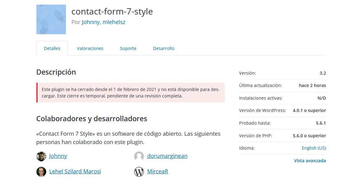 Contact Form 7 Style en el repositorio oficial de WordPress