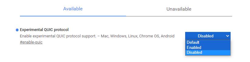 Deshabilitar el protocolo Quic en Google Chrome