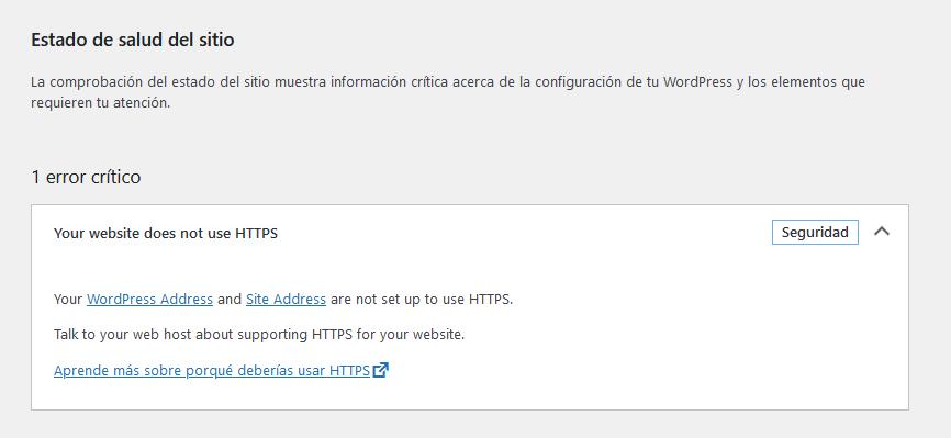 Mensaje de WordPress 5.7 si el hosting no tiene instalado un certificado de seguridad.