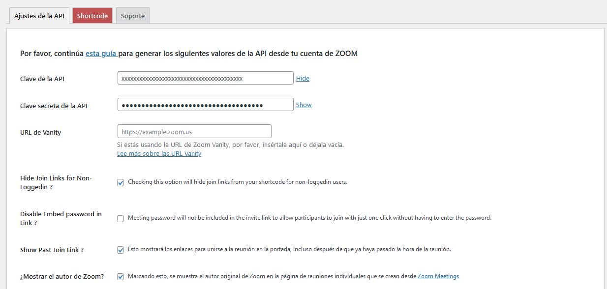 Establecer los ajustes del plugin Video Conferencing with Zoom