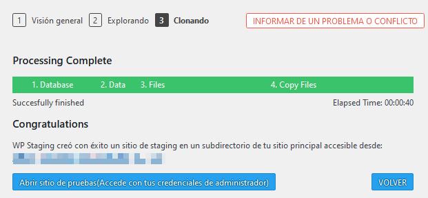Clonación finalizada con el plugin WP Staging