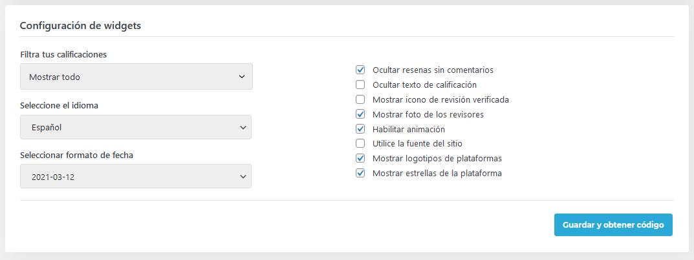 Configuración del plugin Widgets para reseñas de Google