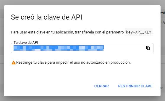 Crear la clave API de Google Places