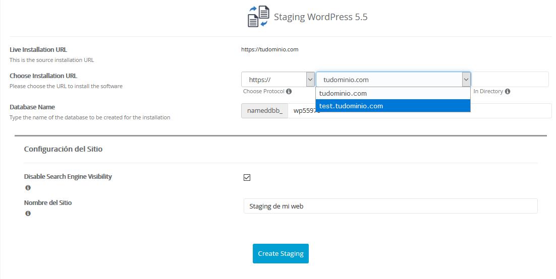 Crear un staging en WordPress