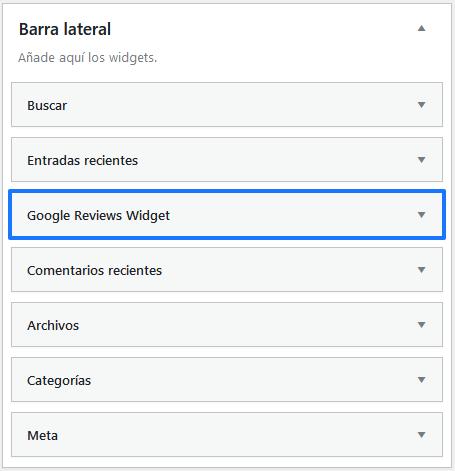 Añadir el widget de Google Reviews a la baarra lateral de tu página web