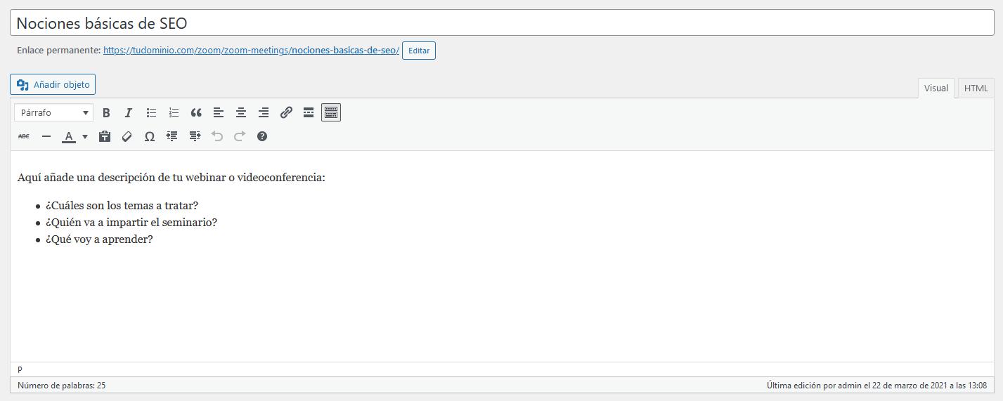 Añadir la información del webinar en WordPress