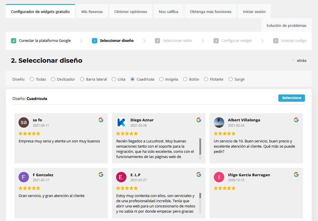 Elegir el diseño para mostrar las reseñas de Google en tu web