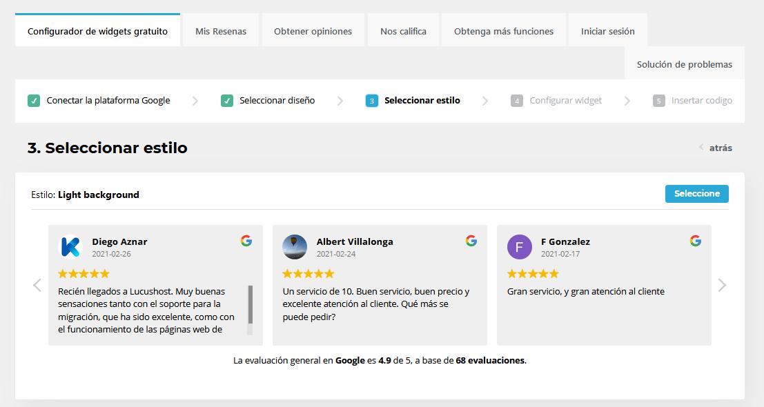 Elegir el estilo para mostrar las reseñas de Google en tu web