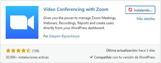 Instalar Video Conferencing with Zoom en WordPress