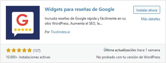 Instalar el plugin Widgets para reseñas de Google