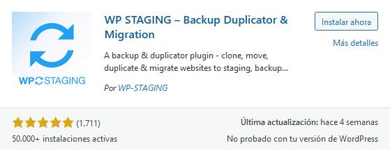 Instalar el plugin WP Staging