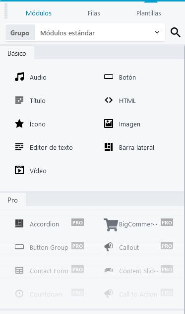 Módulos del plugin Beaver Builder para crear una landing page en WordPress