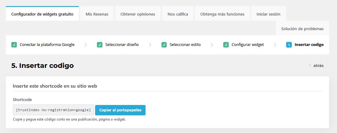 shortcode para añadir las reseñas de Google en tu web