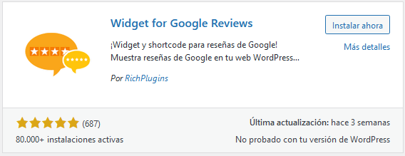 Instalar el plugin Widget for Google Reviews en WordPress