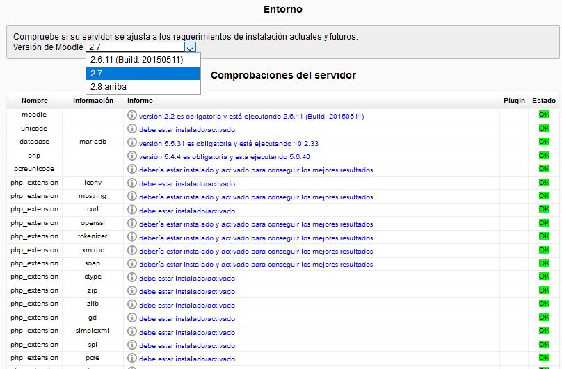 Comprobar los requerimientos del servidor para actualizar Moodle