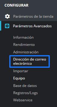 Configurar las direcciones de correo electrónico en PrestaShop