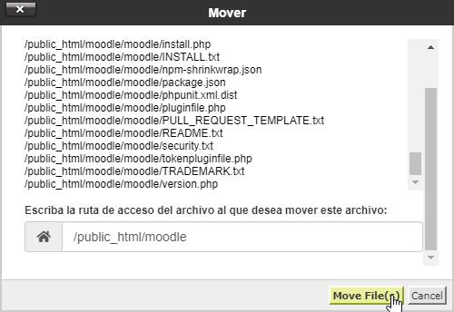 Mover los archivos de Moodle
